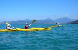 Ocean kayaking at the bay of Paraty