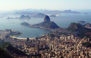 Sugar Loaf seen from the Corcovado with its Christ statue