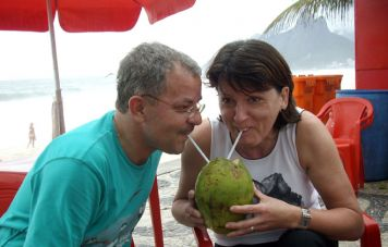 Anita and Joe Arminger at Ipanema beach