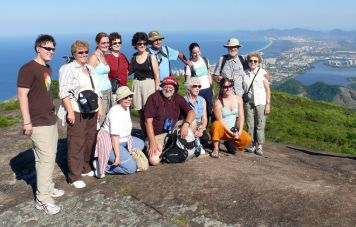Ricardo Chama with his group on top of Pedra Bonita