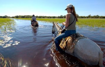 Riding through temporary flooded land