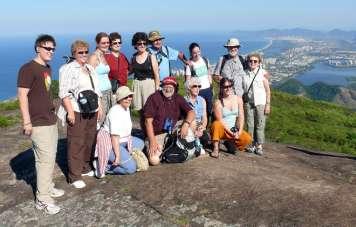 Ricardo Chama with his group on top of Pedra Bonita