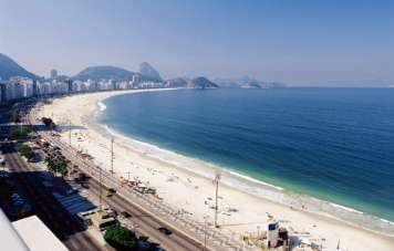 Copacabana beach with the Sugar Loaf at its end